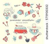 summer vacation. set of hand... | Shutterstock .eps vector #575930332