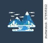 flat design winter nature... | Shutterstock .eps vector #575935312