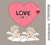 two cupid on a cloud and bubble ... | Shutterstock .eps vector #575955958