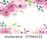 Stock photo floral card watercolor template for wedding invitations posters valentines day easter birthday 575963122