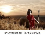 Warrior Wearing Iron Helmet An...