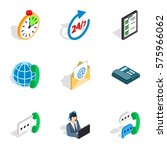 24 phone support icons set.... | Shutterstock .eps vector #575966062