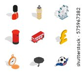 british culture icons set.... | Shutterstock .eps vector #575967382