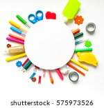 round frame with stationery on... | Shutterstock . vector #575973526