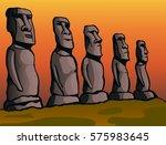 easter island. stone idols.... | Shutterstock .eps vector #575983645