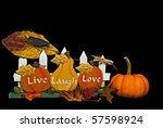 autumn sign with pumpkins and... | Shutterstock . vector #57598924