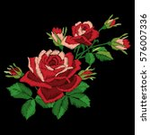 Stock vector red rose embroidery on black background satin stitch imitation vector 576007336