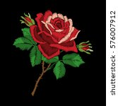 red rose embroidery on black... | Shutterstock .eps vector #576007912