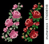 red roses embroidery with... | Shutterstock .eps vector #576008548