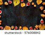 autumn background  leaves ... | Shutterstock . vector #576008842
