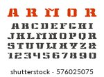 stencil serif font and numerals ... | Shutterstock .eps vector #576025075