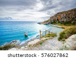 panorama of preveli beach at... | Shutterstock . vector #576027862
