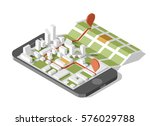 city isometric plan with road... | Shutterstock .eps vector #576029788