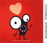cute monster with emotions and... | Shutterstock .eps vector #576031222