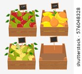 wooden box for fruit and... | Shutterstock . vector #576048328