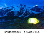 glowing tents stands on the... | Shutterstock . vector #576053416