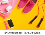 fitness accessories on yellow... | Shutterstock . vector #576054286