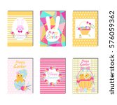 happy easter cards collection....   Shutterstock .eps vector #576059362