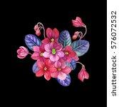 watercolor hand painted violet... | Shutterstock . vector #576072532
