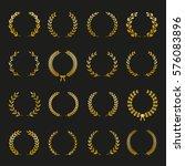 set of gold silhouette circular ... | Shutterstock .eps vector #576083896