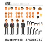 Male character constructor for different poses. Set of various men's faces, hairstyles, hands, legs. Vector illustration. | Shutterstock vector #576086752