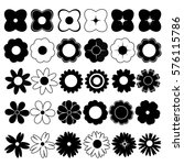 flowers black and white vector | Shutterstock .eps vector #576115786