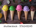 variety of ice cream cones on... | Shutterstock . vector #576143245