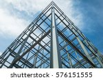 Structure of steel  for building construction on sky background. - stock photo