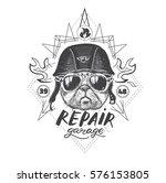 biker pug dog. set of vintage... | Shutterstock .eps vector #576153805