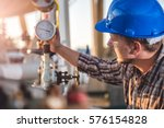 man checking manometer in... | Shutterstock . vector #576154828