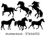 silhouettes of horses | Shutterstock .eps vector #57616252