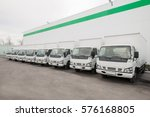 cargo vehicles stand in a row... | Shutterstock . vector #576168805