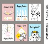 cute cards with hand drawn... | Shutterstock .eps vector #576169108