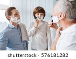 nice young boy learning to shave | Shutterstock . vector #576181282