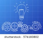 light bulb and gear wheels with ... | Shutterstock .eps vector #576183802