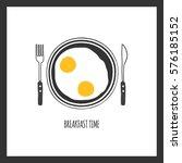 breakfast plate with scrambled... | Shutterstock .eps vector #576185152