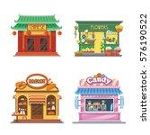 nice showcases of shops. bakery ... | Shutterstock .eps vector #576190522