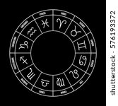 zodiac circle with astrology... | Shutterstock .eps vector #576193372