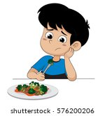 kid sad with his broccoli... | Shutterstock .eps vector #576200206