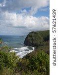 Surf and Cliffs Along Hawaii Coast - stock photo