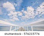 Birds Flying Over White Wooden...