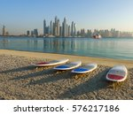 paddle boards on the beach on... | Shutterstock . vector #576217186