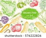 vegetables top view frame.... | Shutterstock .eps vector #576222826