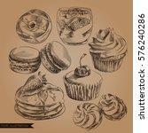 set of hand drawn desserts in...   Shutterstock .eps vector #576240286
