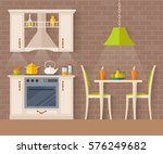 small kitchen with dining room. ... | Shutterstock .eps vector #576249682