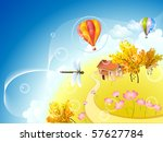 autumn planet with dragonfly... | Shutterstock .eps vector #57627784