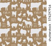 farm animals silhouette pattern | Shutterstock .eps vector #576297916