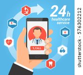 healthcare mobile service... | Shutterstock .eps vector #576302212