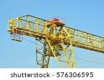 full gantry crane over blue sky ...   Shutterstock . vector #576306595