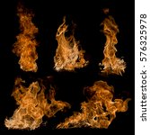 set fire isolated on black... | Shutterstock . vector #576325978